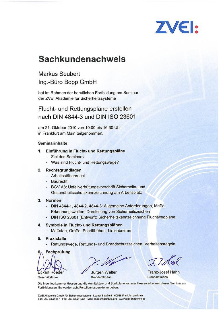 Ing.-Büro Bopp GmbH - Flucht- und Rettungswegspläne DIN 4844-3